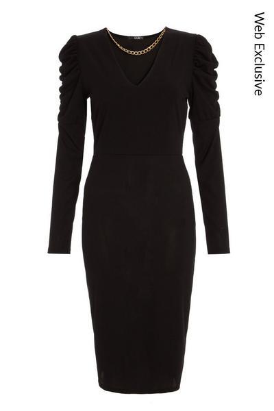 Black Chain Puff Sleeve Midi Dress
